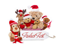 Teamwork - group of teddy bears wish merry christmas Royalty Free Stock Photo