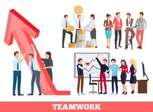 Teamwork Growth and Success Vector Illustration. Teamwork growth and success, icons of workers holding arrow as sing of achievement, and people at meeting Royalty Free Stock Images