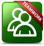 Teamwork-Gruppenikonen-Grünquadratknopf Stockfotografie