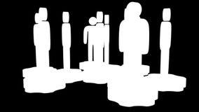 teamwork Gruppo di supporto stilizzato della gente sugli ingranaggi illustrazione di stock