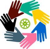 Teamwork hand logo Stock Images