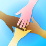 Teamwork hands. Vector illustration of four colorful multiracial diverse hands together on blue background symbolizing human racial unity, friendship, help, deal Stock Images