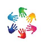 Teamwork hands colorful royalty free illustration