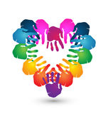 Teamwork hands heart shape logo Stock Photography