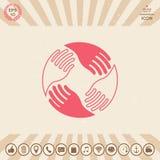 Teamwork Hands. Human connection Logo Royalty Free Stock Photos