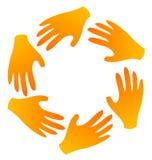 Teamwork hands logo royalty free illustration