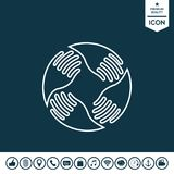 Teamwork Hands Logo. Human connection. Line icon Royalty Free Stock Images
