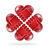 Handshake love heart shape logo. Teamwork hands red love heart shape people logo vector design Stock Photography
