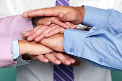 Teamwork hands stack Stock Photo