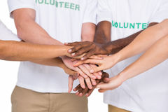 Teamwork with hands together standing Stock Photo