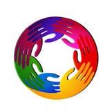 Teamwork hands vivid colors and diversity logo. Vector design Royalty Free Stock Photo