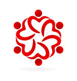 Teamwork heart love hug logo Royalty Free Stock Photography