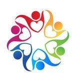 Teamwork heart love hug logo Royalty Free Stock Images