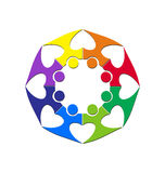 Teamwork with hearts surrounding each other logo. Design illustration Stock Images