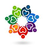 Teamwork helpful caring heart people abstract icon vector. Design illustration stock illustration