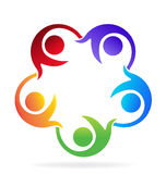 Teamwork helping people logo. Teamwork helping people vector image Stock Photo
