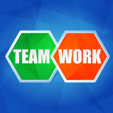 Teamwork in hexagons, flat design Royalty Free Stock Photography