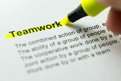 Teamwork highlighted in yellow Stock Photography