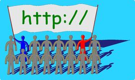 Teamwork with a http message Stock Photography