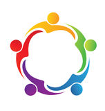 Teamwork hug friendship people logo. Teamwork hug friendship colorful people logo vector Stock Photo