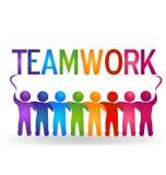 Teamwork hug people logo Stock Photos