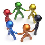 Teamwork human resources social network characters circle. People individuality friendship team six different cartoon friends unity meeting icon concept Royalty Free Stock Photography