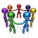 Teamwork human resources  social network circle people. Diverse characters friendship individuality team seven different cartoon friends unity meeting icon Royalty Free Stock Photos
