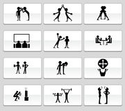 Teamwork Icon Set: Black and Whiet Stock Photo