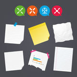 Teamwork icons. Helping Hands symbols. Business paper banners with notes. Teamwork icons. Helping Hands with globe and heart symbols. Group of employees working Royalty Free Stock Photo