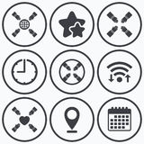 Teamwork icons. Helping Hands symbols. Stock Images