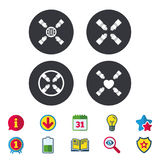 Teamwork icons. Helping Hands symbols. Teamwork icons. Helping Hands with globe and heart symbols. Group of employees working together. Calendar, Information Stock Images