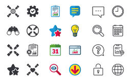 Teamwork icons. Helping Hands symbols. Teamwork icons. Helping Hands with globe and heart symbols. Group of employees working together. Chat, Report and Stock Photos