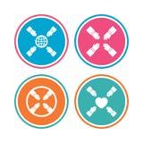 Teamwork icons. Helping Hands symbols. Stock Photos