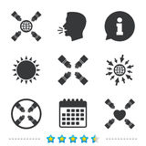 Teamwork icons. Helping Hands symbols. Teamwork icons. Helping Hands with globe and heart symbols. Group of employees working together. Information, go to web Stock Photography