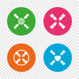 Teamwork icons. Helping Hands symbols. Teamwork icons. Helping Hands with globe and heart symbols. Group of employees working together. Round buttons on Royalty Free Stock Photos