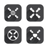 Teamwork icons. Helping Hands symbols. Teamwork icons. Helping Hands with globe and heart symbols. Group of employees working together. Square flat buttons with Stock Image