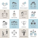 Teamwork icons line flat Royalty Free Stock Images