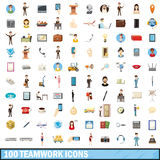 100 teamwork icons set, cartoon style. 100 teamwork icons set in cartoon style for any design vector illustration Royalty Free Stock Photo