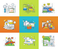 teamwork icons set. Flat line icons for infographics design elements. Statistics and analysis, complete cycle of the buying process, shopping, planning Royalty Free Stock Photos