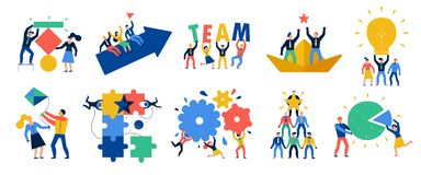 Teamwork Icons Set. With ideas and brainstorming symbols flat isolated vector illustration royalty free illustration