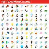 100 teamwork icons set, isometric 3d style Royalty Free Stock Photos