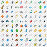 100 teamwork icons set, isometric 3d style Stock Photos