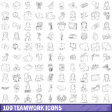 100 teamwork icons set, outline style Stock Photo