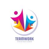 Teamwork - idérik illustration för vektormallvektor Abstrakt mänskligt tecken Social massmediagemenskapanslutning folk vektor illustrationer