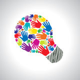 Teamwork idea. With colorful helping hands Stock Image