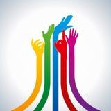 Teamwork idea,colorful hands  Stock Photos