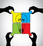 Teamwork idea jigsaw puzzle human hands Royalty Free Stock Photos