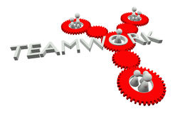 Teamwork illustration. 3D rendered teamwork illustration with red gears and white figures royalty free illustration