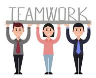 Teamwork illustration, businesswoman, businessman Stock Photo