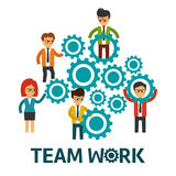 Teamwork  illustration. Teamwork with people a gears  illustration Royalty Free Stock Image